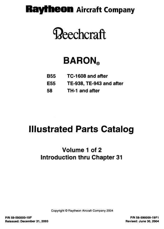 Beechcraft Baron B55 E55 58 Illustrated Parts Catalog