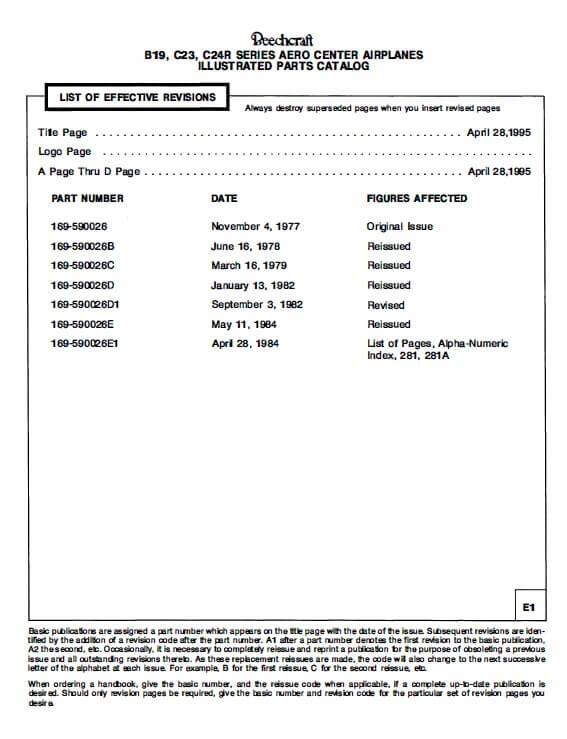 Beechcraft Sport 150, Sundowner 180, Sierra 200, Illustrated Parts Catalog.3