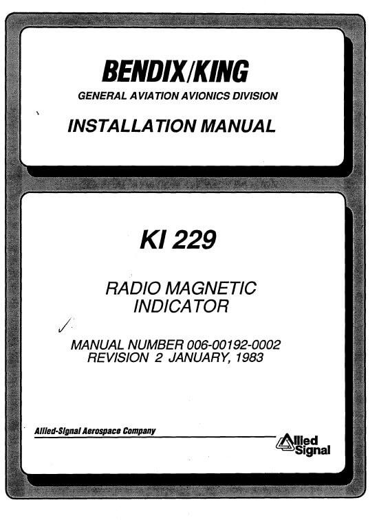 Bendix King KI 229 Radio Magnetic Installation-Maintenance Manual