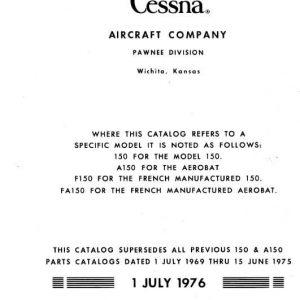 Cessna 150, A150, F150, FA150 1970-1977 Parts Catalog 1976