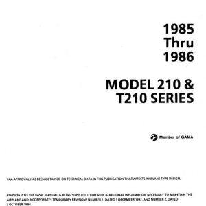 Cessna 1985 thru 1986 Model 210 & T210 Series Service Manual