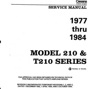 Cessna 210 and T210 Series Service Manual 1977 thru 1984