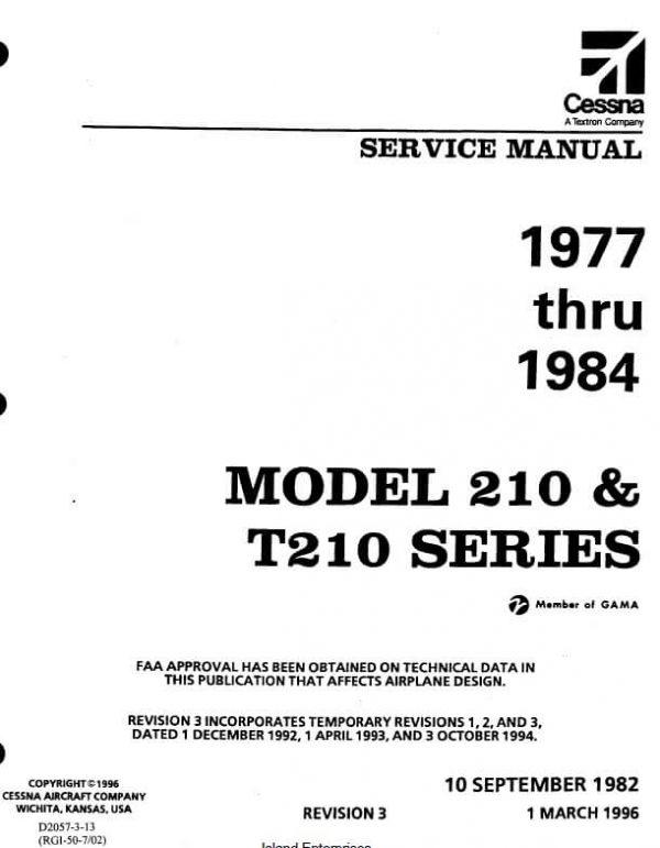 Cessna 210 and T210 Series Service Manual 1977 thru 1984