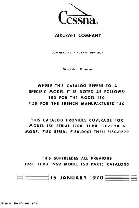 Cessna Model 150 Illustrated Parts Catalog