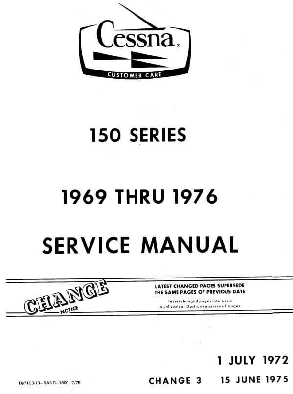 Cessna Model 150 Series 1969 thru1976 Service Manual