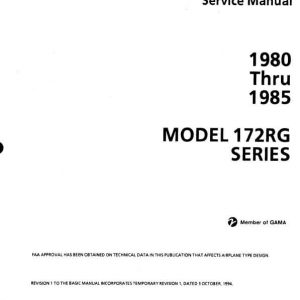 Cessna Model 172RG Series 1980 thru 1985 Service Manual