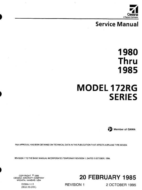 Cessna Model 172RG Series 1980 thru 1985 Service Manual