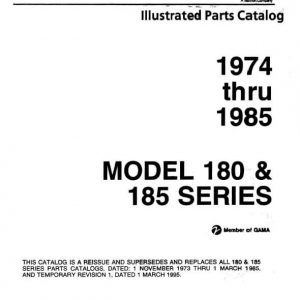 Cessna Model 180 & 185 Series Illustrated Parts Catalog 1974 Thru 1985