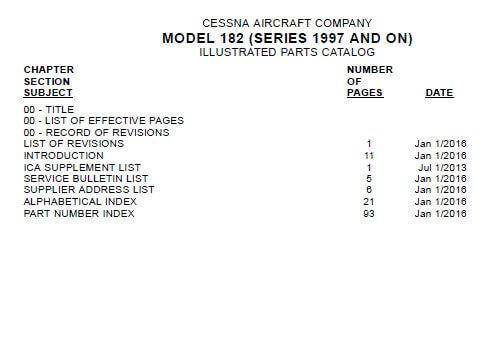 Cessna Model 182 Series 1997 And On Illustrated Parts Catalog.3