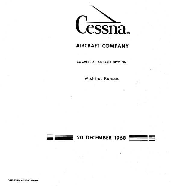 Cessna Model 210 Centurion Service Manual 1969 1968