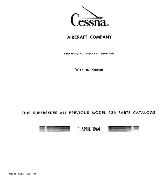Cessna Model 336 Series Illustrated Parts Catalog, P300-12