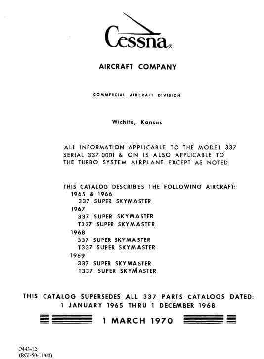 Cessna Model 337 Series Illustrated Parts Catalog, P443-12