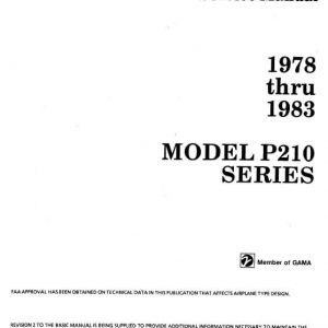 Cessna Model P210 Series Service Manual 1978 thru 1983