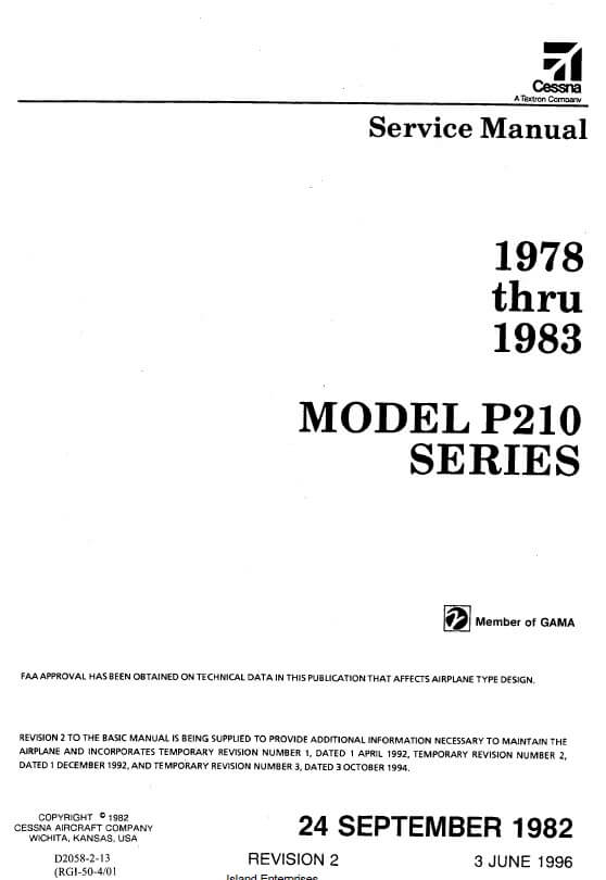 Cessna Model P210 Series Service Manual 1978 thru 1983