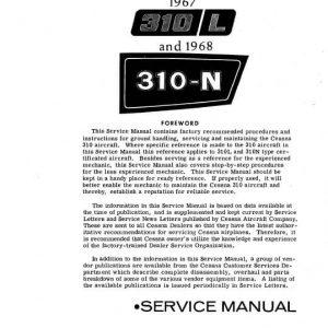 Cessna Models 310L and 310N 1967 thru 1968 Service Manual