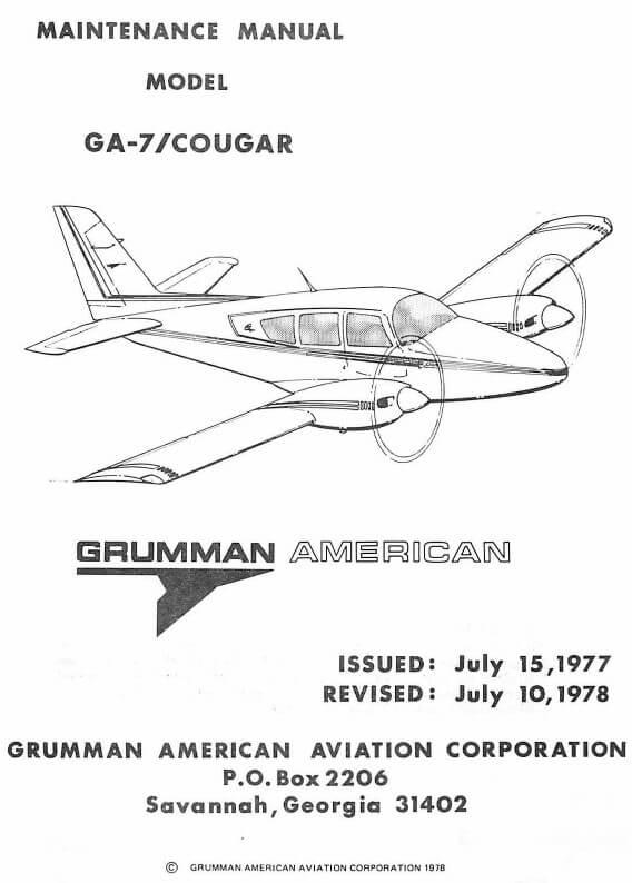 Grumman American Maintenance Manual Model GA-7-Cougar