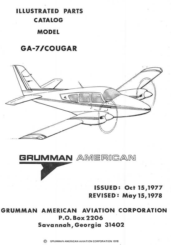 Grumman Model GA-7 Cougar Illustrated Parts Catalog 1978