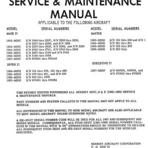 Mooney M20 Series Service & Maintenance Manual