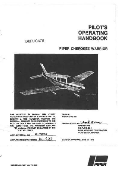 Piper Cherokee Warrior Pilot's Operating Handbook P A #761 623