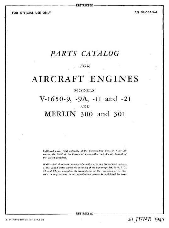 Rolls Royce MERLIN Engine Parts Catalog