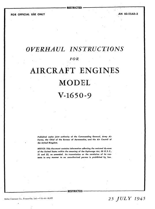 Rolls Royce Overhaul Instructions For Aircraft Engines Model V-16S0-9.3