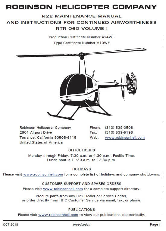 Robinson R22 Maintenance Manual RTR 060 2018