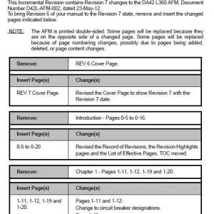 Diamond DA42-L360 Aircraft Flight Manual -Incremental Revision