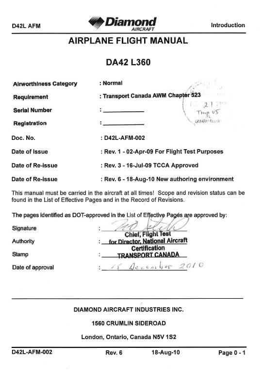 Diamond DA42-L360 Aircraft Flight Manual2