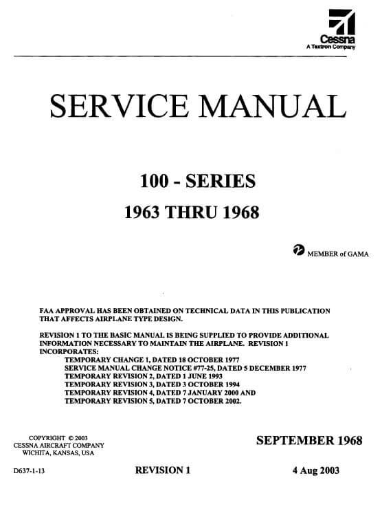 Cessna 100 Series Service Manual 1963 THRU 1968 D637R1-13.2