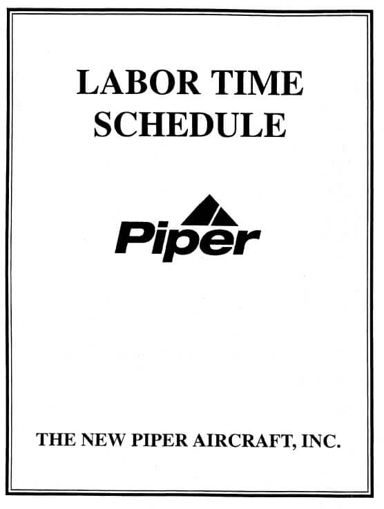 Piper Labor Time Schedule Part No. 753-779