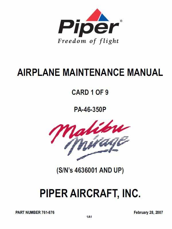 PA-46-350P, Piper Malibu Mirage Maintenance Manual P-761-876