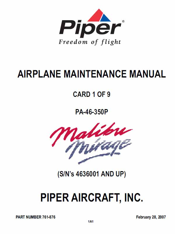 PA-46-350P, Piper Malibu Mirage Maintenance Manual P-761-876