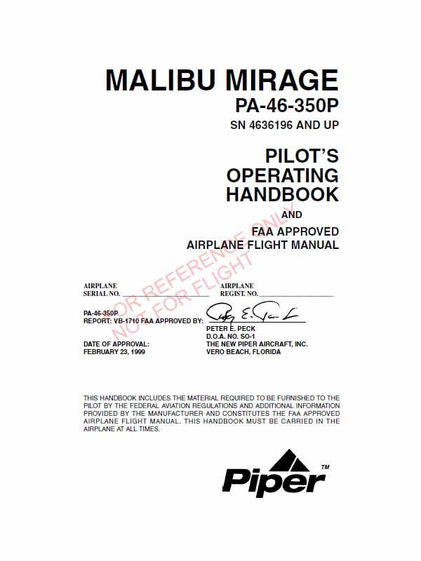 Piper Malibu Mirage Pa 46 350p POH Flight Manual
